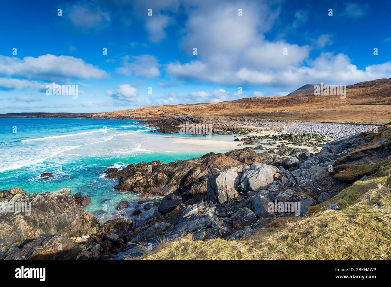 A remote beach at Mealista on the Isle of Lewis in the Western Isles of Scotland Stock Photo