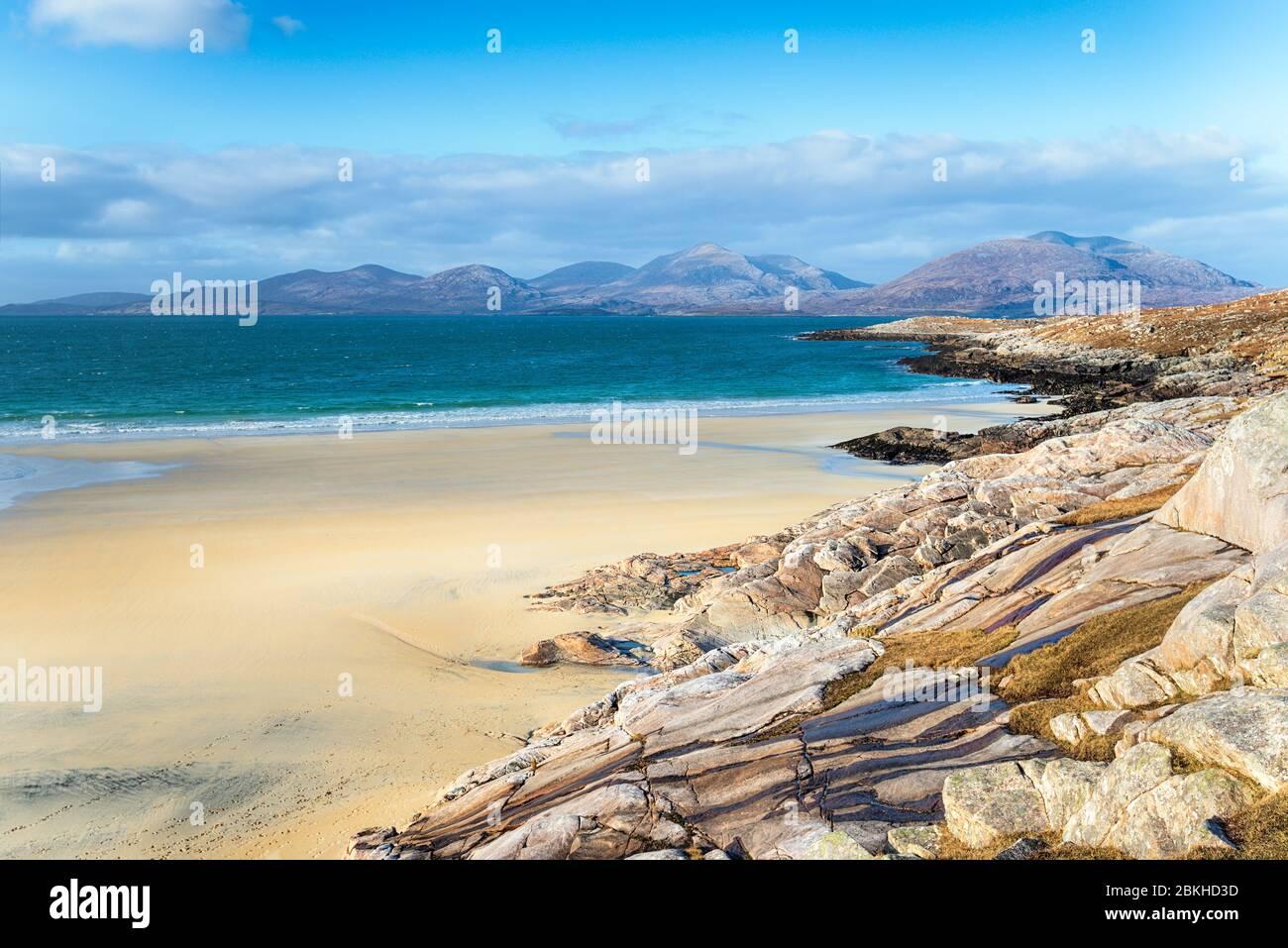 Traigh Rosamol beach at Luskentyre on the western coast of the Isle of Harris in Scotland Stock Photo