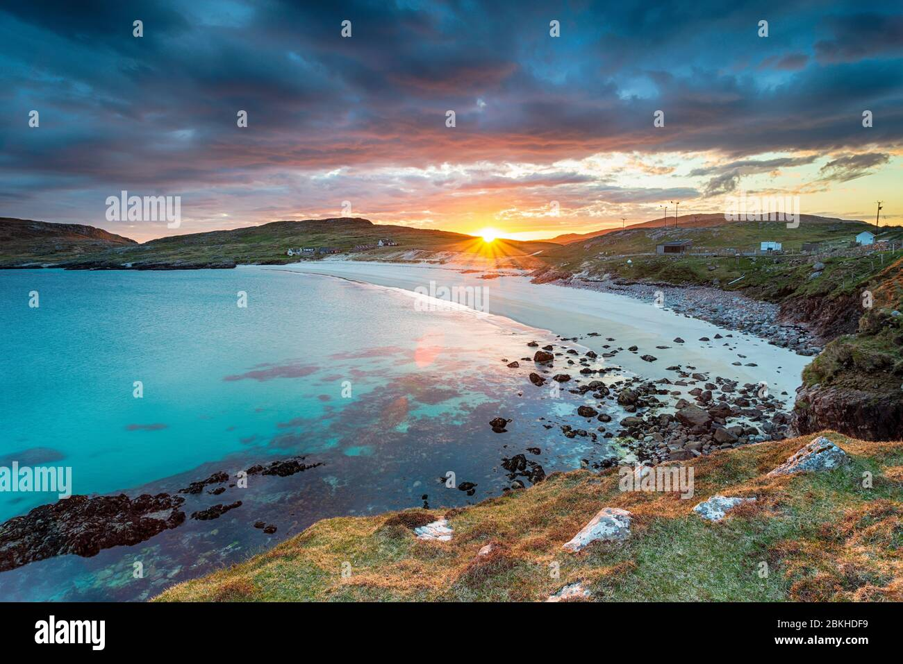 Sunset over the beach at Hushinish on the Isle of Harris in the Outer Hebrides of Scotland Stock Photo