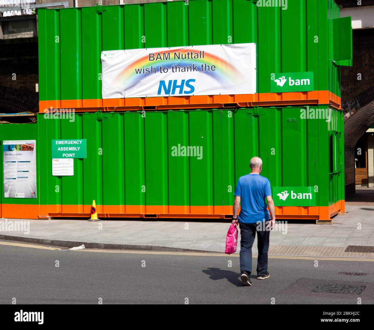 Sign saying thank you to NHS Key Workers, during the COVID-19 Lockdown, Lewisham High Street, South East London Stock Photo