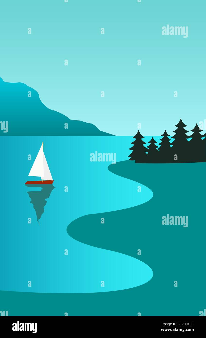 Creative concept vector illustration sailing boat yacht at the sea with mountains sky and forest. Stock Vector