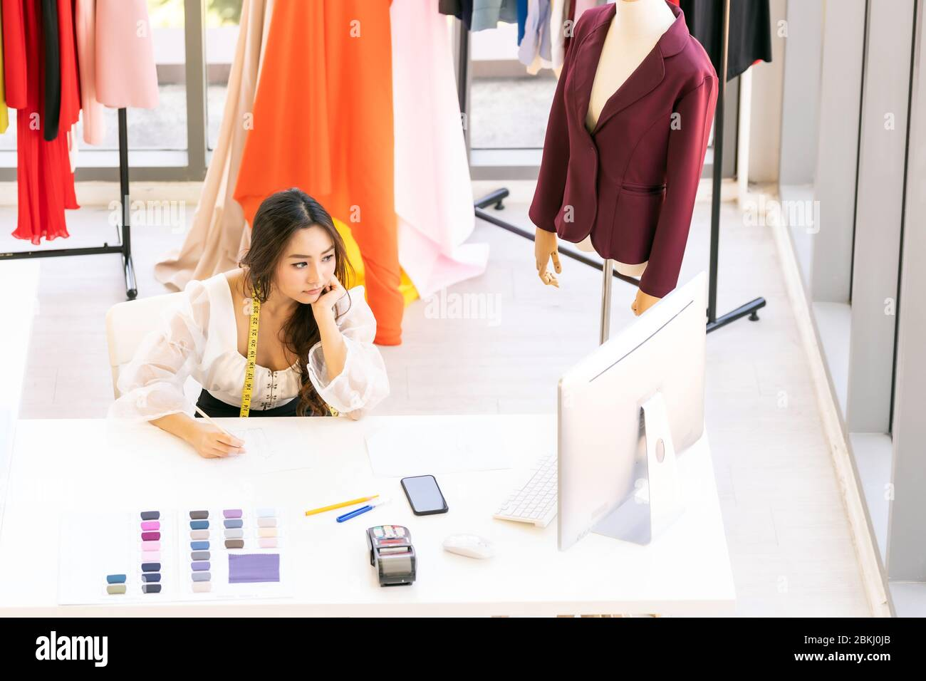 Top View Of Young Adult Asian Fashion Designer Drawing And Sketching Her Work At Home As Atelier Studio With Colour Palette Using For Entrepreneur Sm Stock Photo Alamy