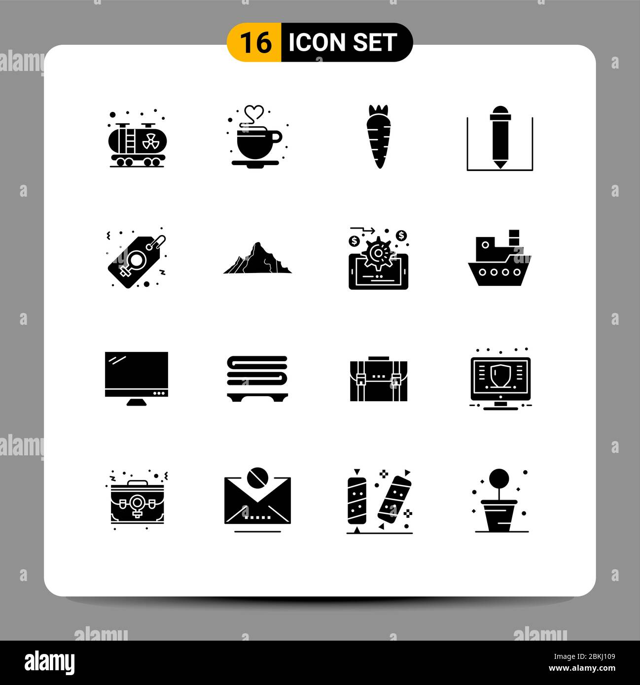 universal icon symbols group of 16 modern solid glyphs of landscape women sign food tag label editable vector design elements stock vector image art alamy alamy