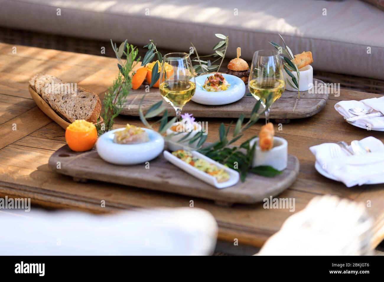France, Corse du Sud, Domaine de Murtoli, La Ferme, restaurant at ...