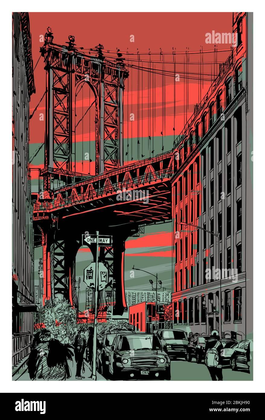 Brooklyn Bridge Com New York City arte impressão Home Decor Arte de parede Poster-D