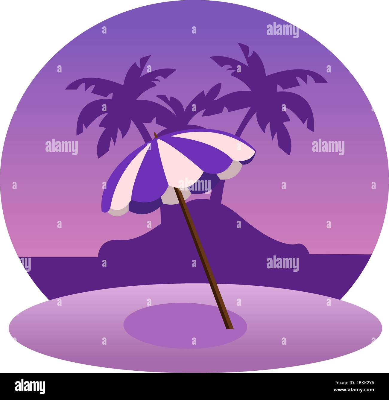 Creative concept vector travel illustration seaside beach landscape with umbrella in the sunlight. Stock Vector