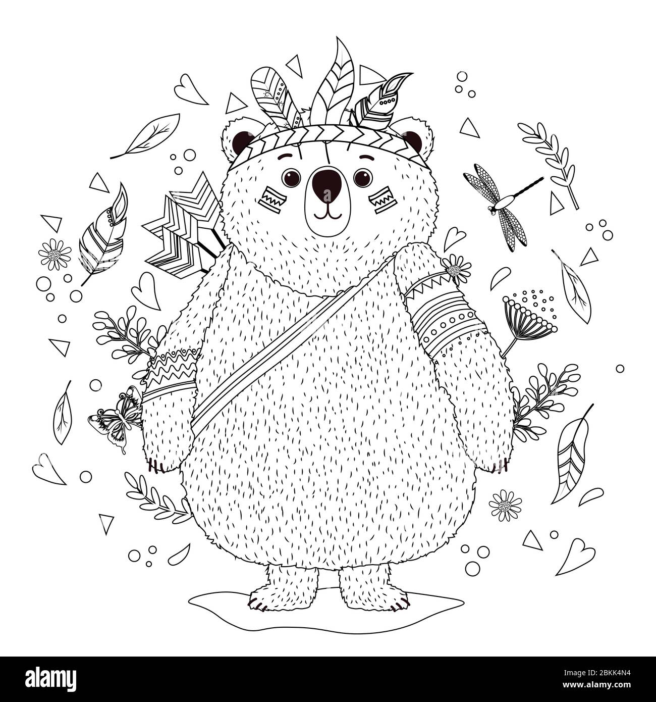 - A Bear Cub In An Indian War Hat With Feathers. Coloring Book For