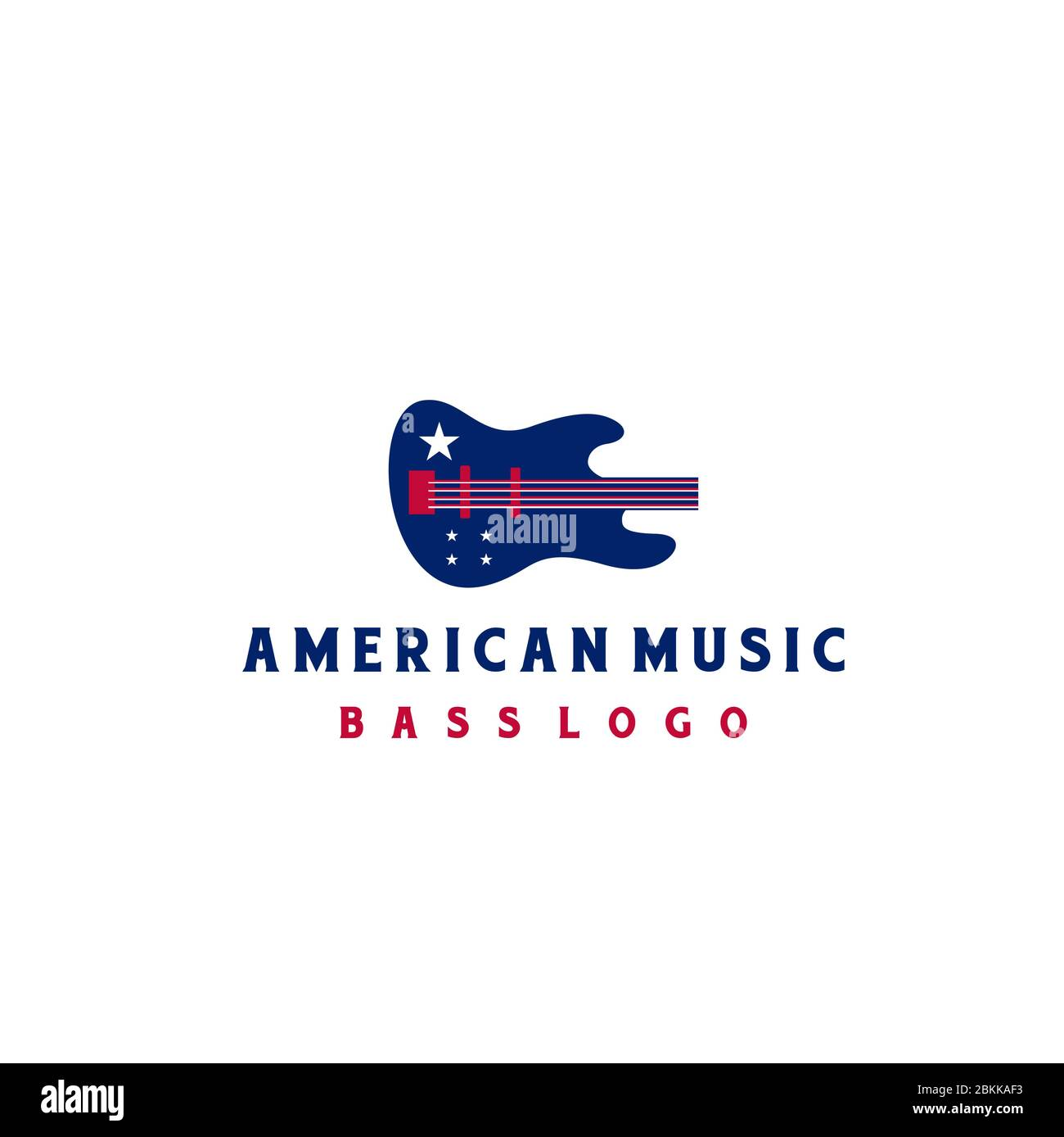 Bass With American Flag For Music Instrument Logo Design Stock Vector Image Art Alamy