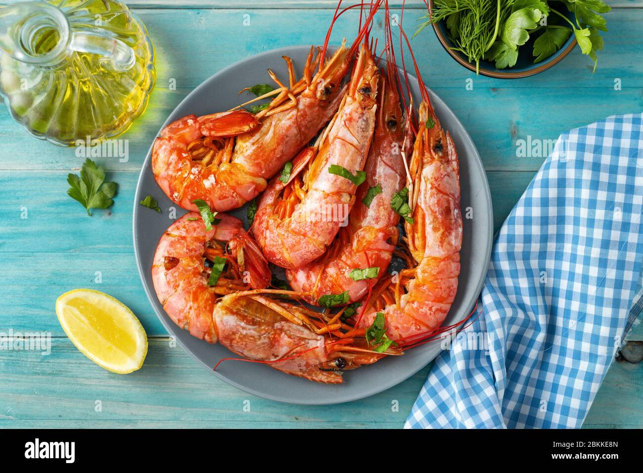 Close up of argentinian red prawns on aqua menthe background Stock Photo