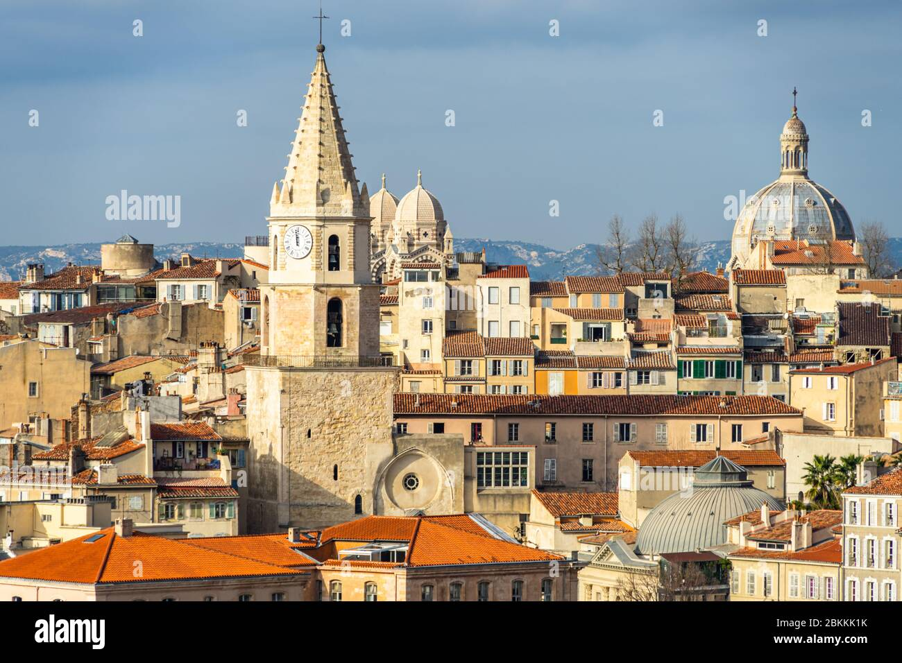 Skyline of Le Panier quarter, the famous old town of Marseille and one of the most visited tourist attraction of the city, France Stock Photo