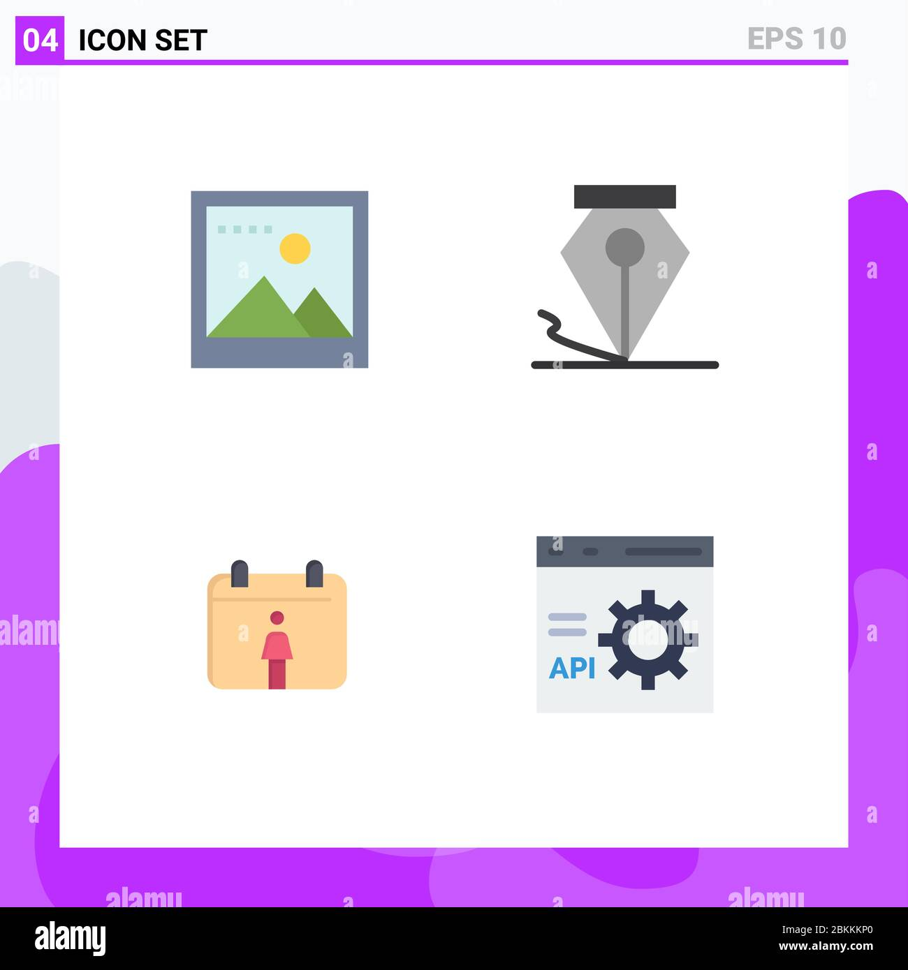 4 User Interface Flat Icon Pack of modern Signs and Symbols of image, coding, freeform, calendar, development Editable Vector Design Elements Stock Vector