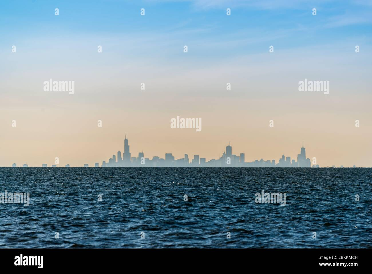 Chicago Skyline Seen From Lake Michigan Stock Photo Alamy