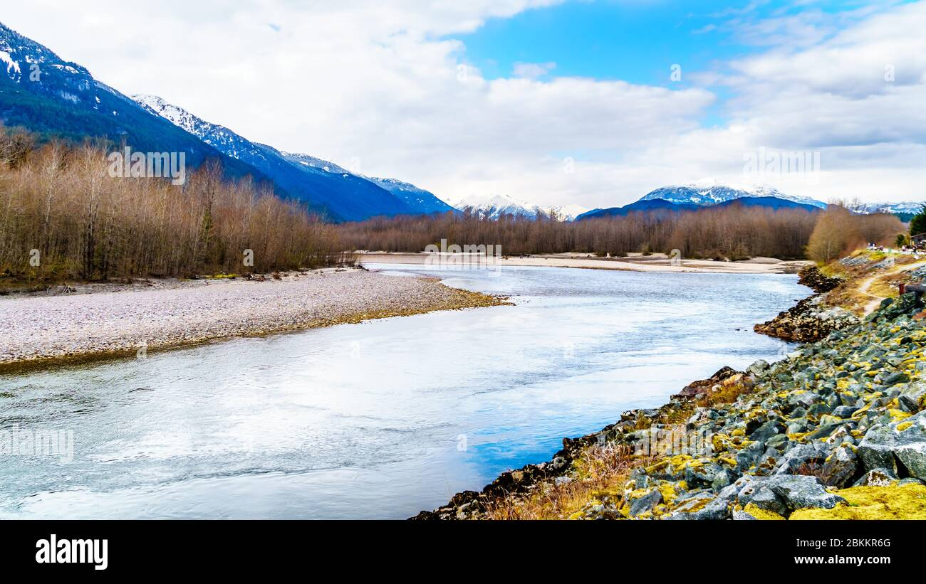 The Squamish River in Brackendale Eagles Provincial Park, a famous Eagle watching spot in British Columbia, Canada Stock Photo
