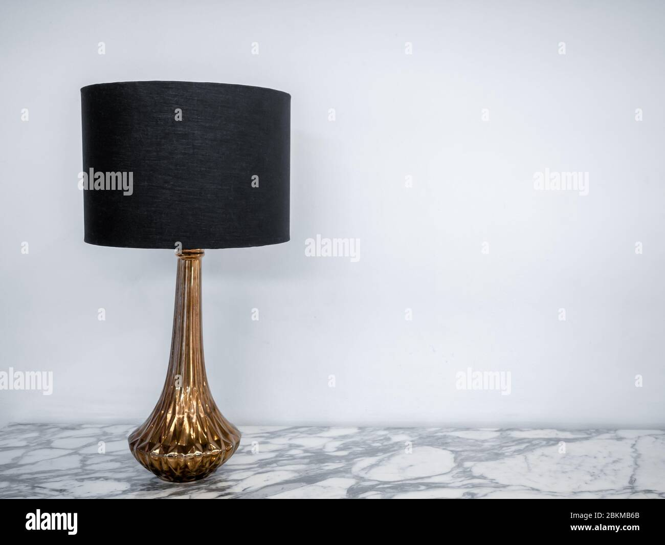 Vintage Table Lamp On Marble Table Luxury Lamp Designed With Black Fabric And Gold On White Background With Copy Space Stock Photo Alamy