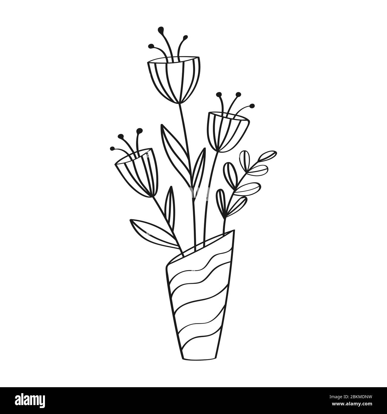 Vase With A Bouquet Of Flowers Empty Contour Silhouette Simple Stock Design For Scrapbooking Coloring Books Or Theme Design Stock Vector Image Art Alamy