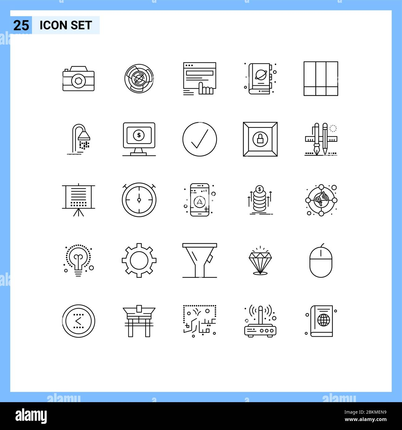 25 Thematic Vector Lines and Editable Symbols of fiction, website, labyrinth, web, finger Editable Vector Design Elements Stock Vector