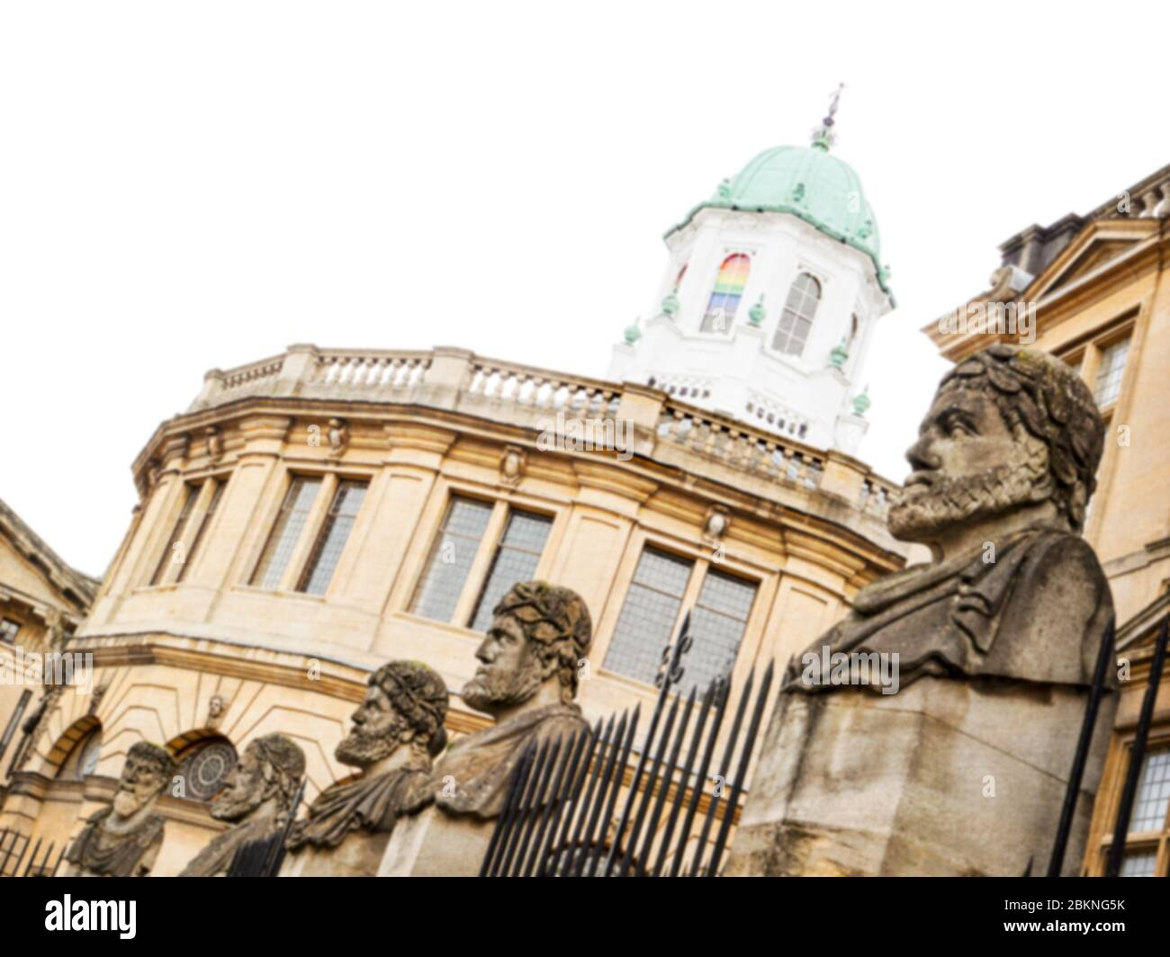Statues in front of the iconic Sheldonian theatre in Oxford. Stock Photo