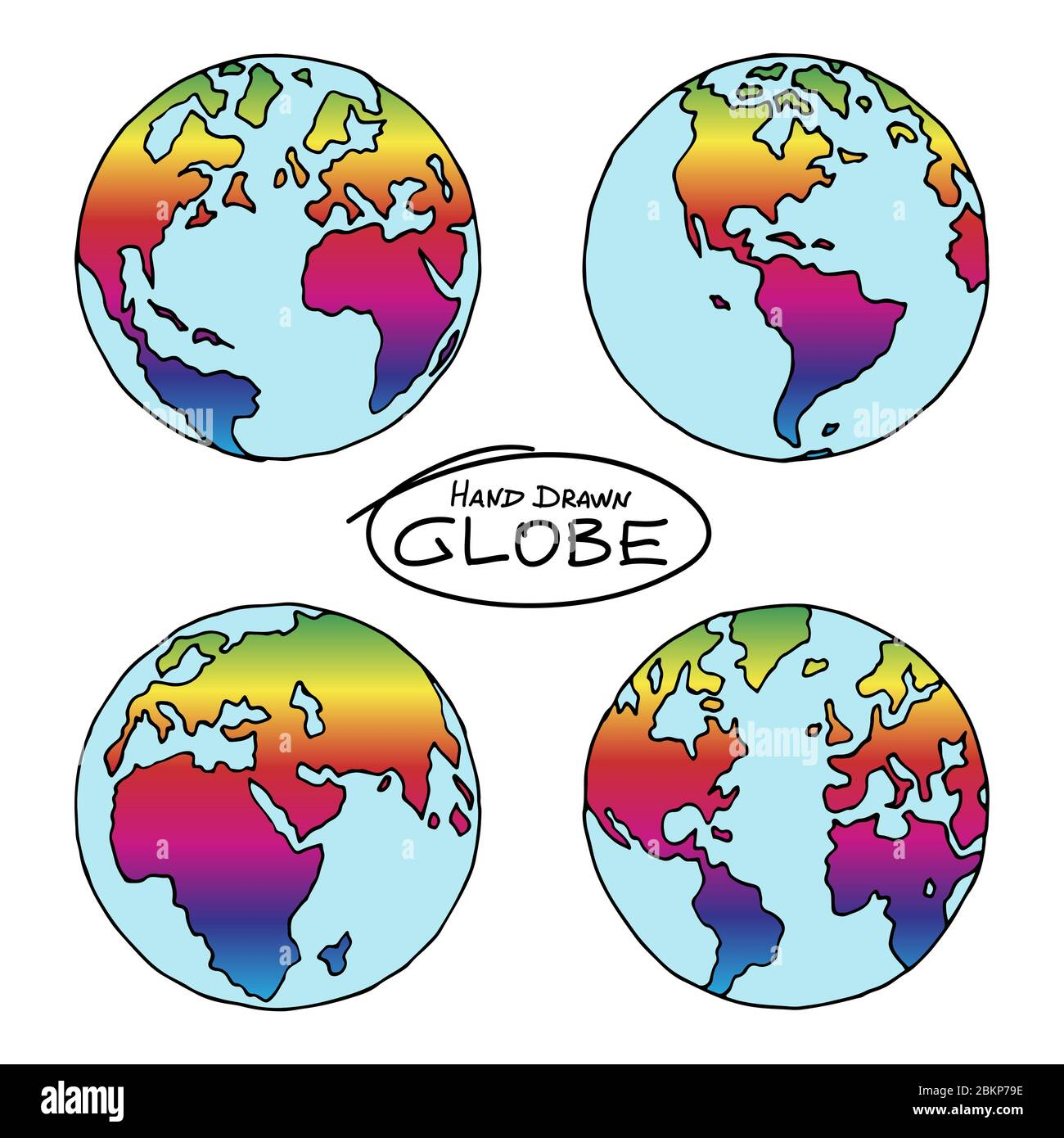 Hand drawn globe colored in rainbow gradient. Colorful symbol of freedom, equality and peace. Not exactly precision outline drawing of world map. Easy Stock Vector