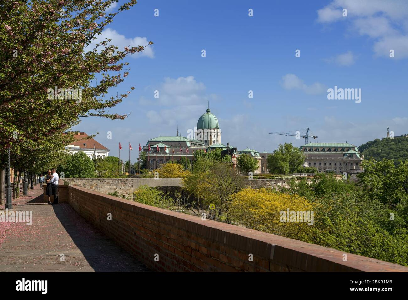 The popular Toth Arpad Promenade in Buda castle district in spring time. Buda Castle Royal Palace at background.Budapest,Hungary,Europe. Stock Photo