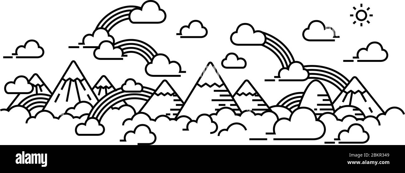 sky scape and rainbow with cloudy panorama view single line. Stock Vector