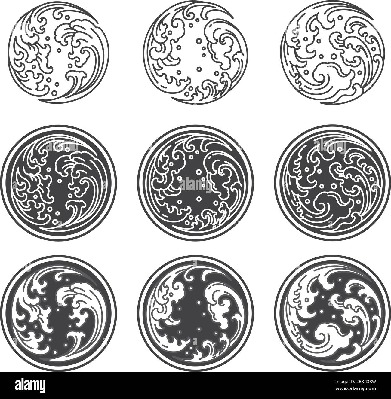 Oriental water wave in Yin Yang circle shape. Outline and filled with gray. Symbolic of opposite. For concepted by Thai, Japanese, Chinese believable. Stock Vector