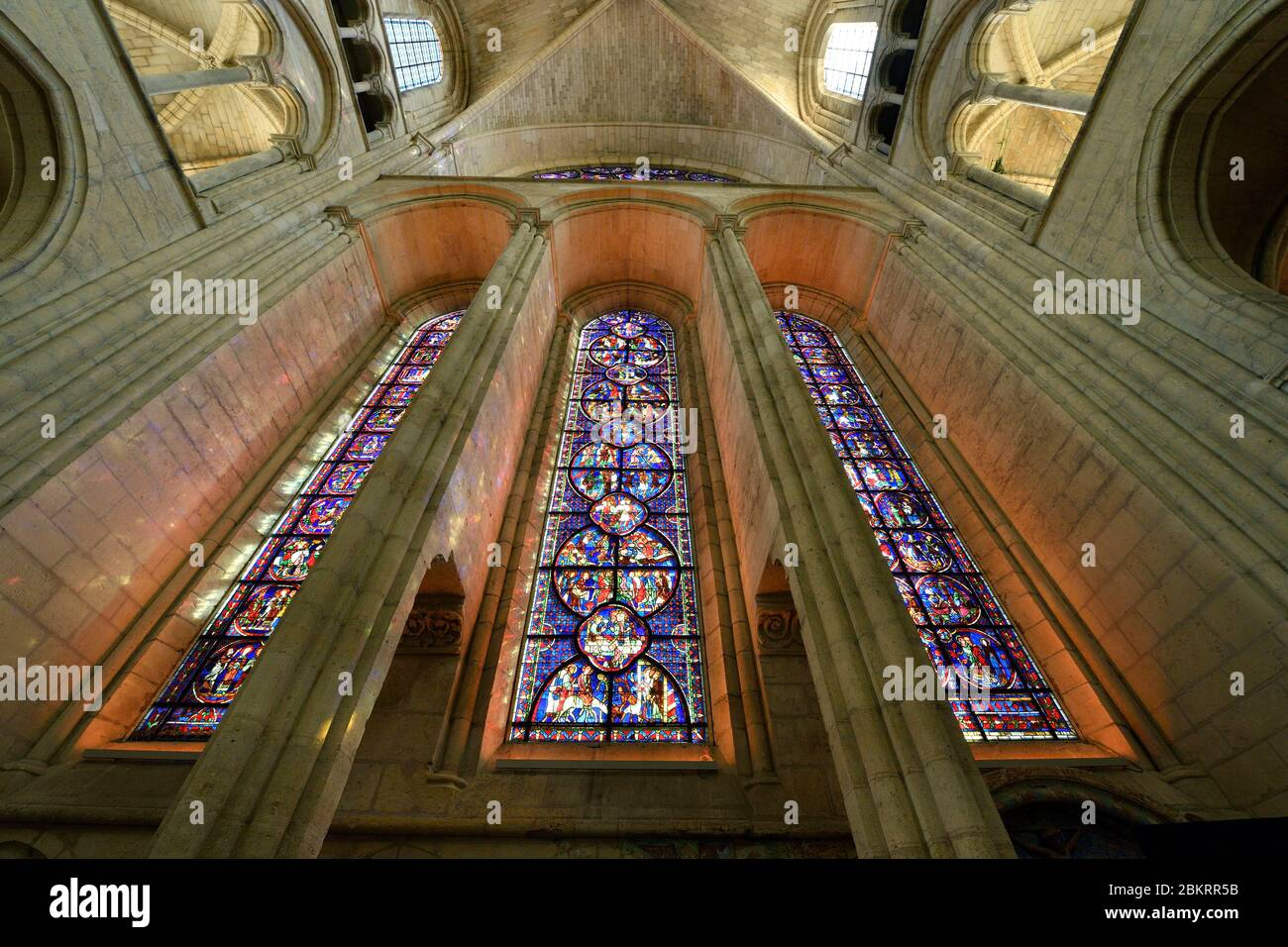 France, Aisne, Laon, the Upper town, Notre-Dame de Laon cathedral, Gothic architecture Stock Photo
