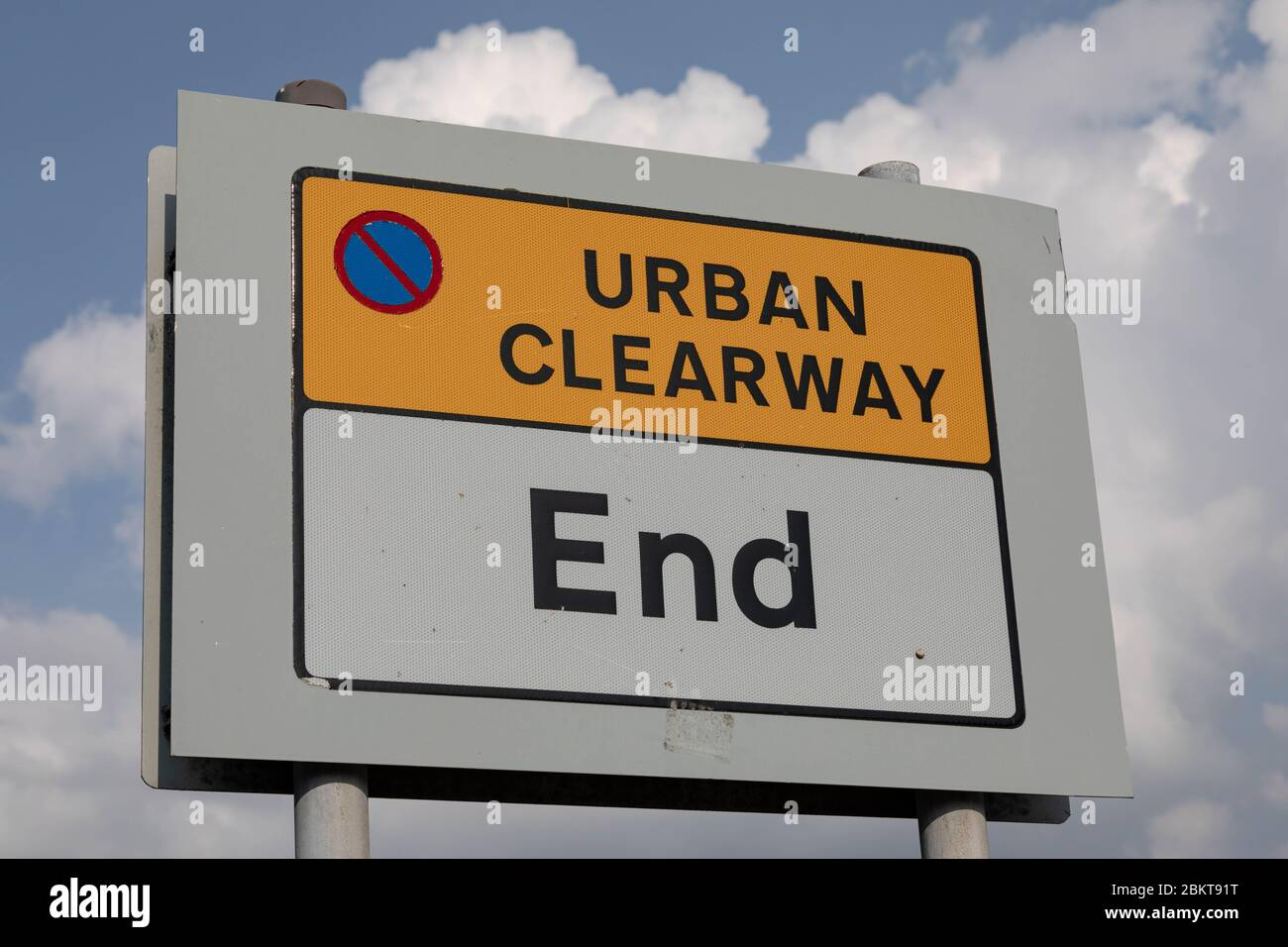roadside sign indicating end of urban clearway at Birkenhead Wirral August 2019 Stock Photo