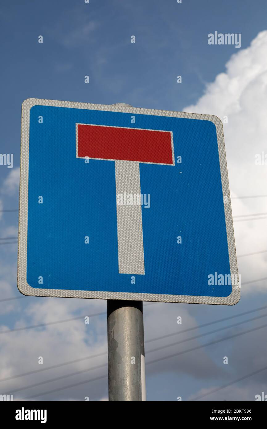 Street sign indicating road with dead end Birkenhead Wirral August 2019 Stock Photo