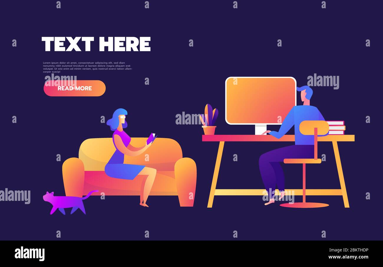 Family is staying at home on quarantine and spending time together. Set of illustrations of home activities for family.Vector flat style illustration Stock Vector