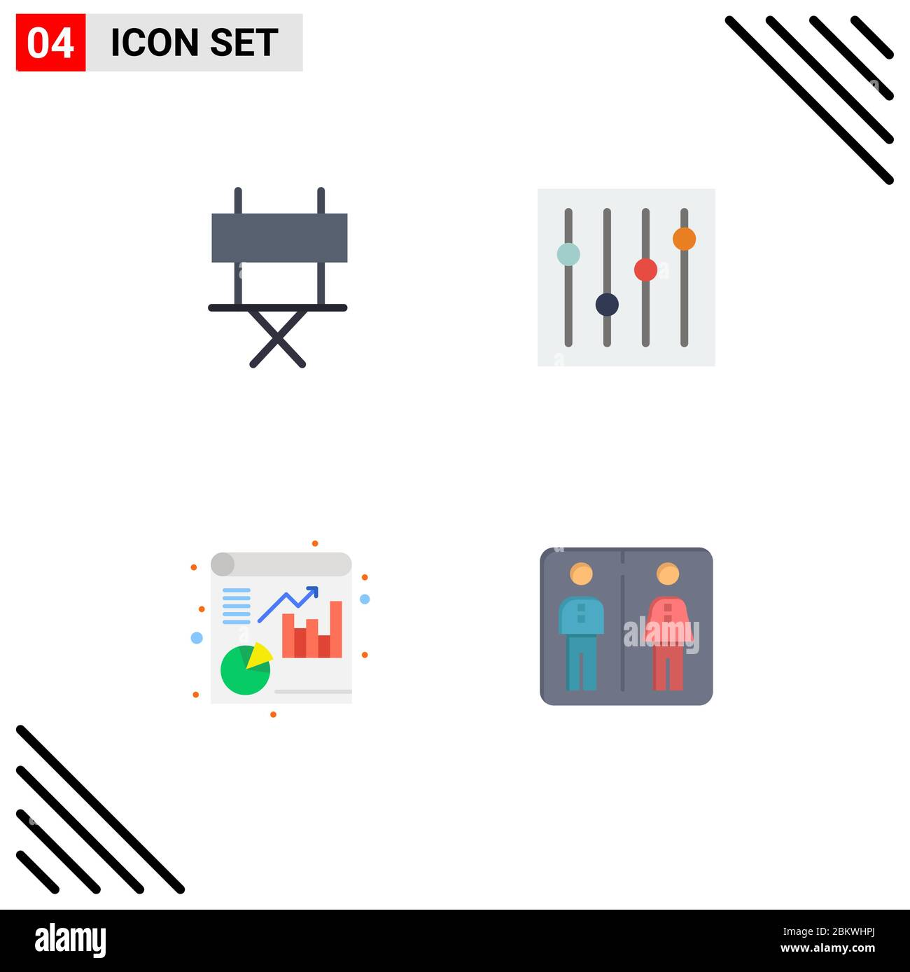 Group Of 4 Modern Flat Icons Set For Chair Report Folding Chair Tuning Elevator Editable Vector Design Elements Stock Vector Image Art Alamy