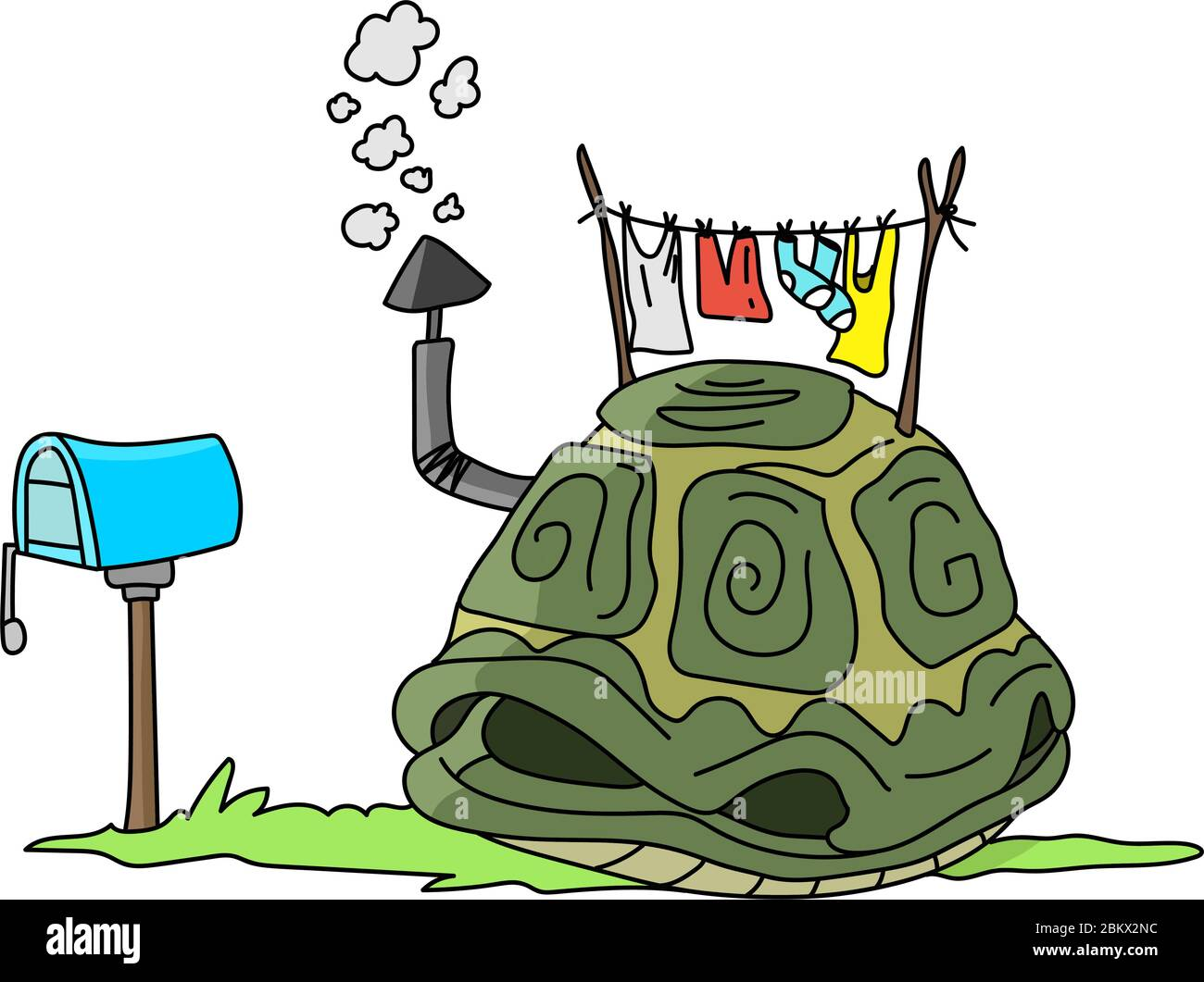 Cartoon Turtle Shell Like A House With A Smoking Chimney On The