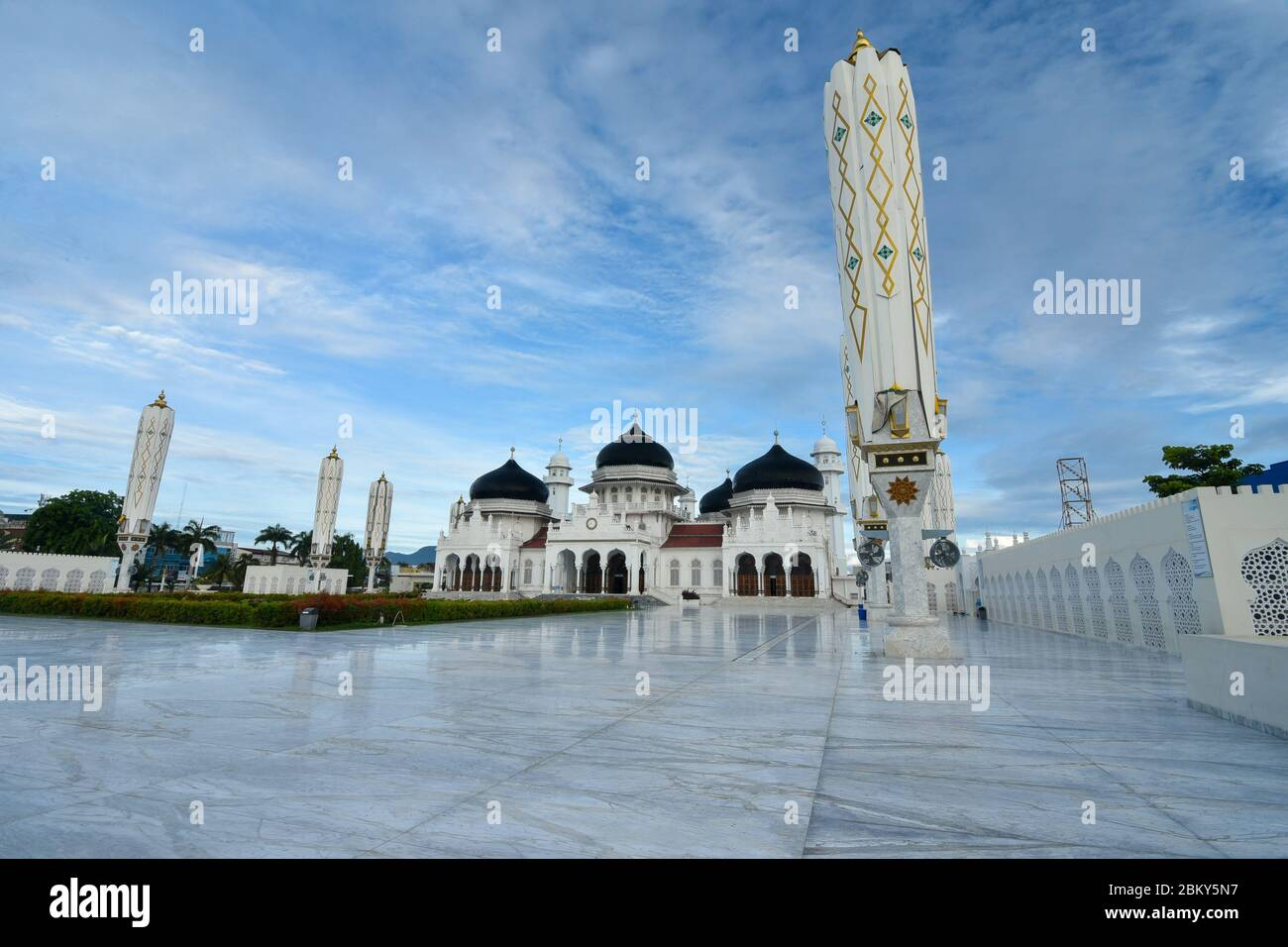The grandeur of the Baiturrahman Great Mosque in the morning in Banda Aceh, Aceh province, Indonesia. Wednesday 6 May, 2020. Stock Photo