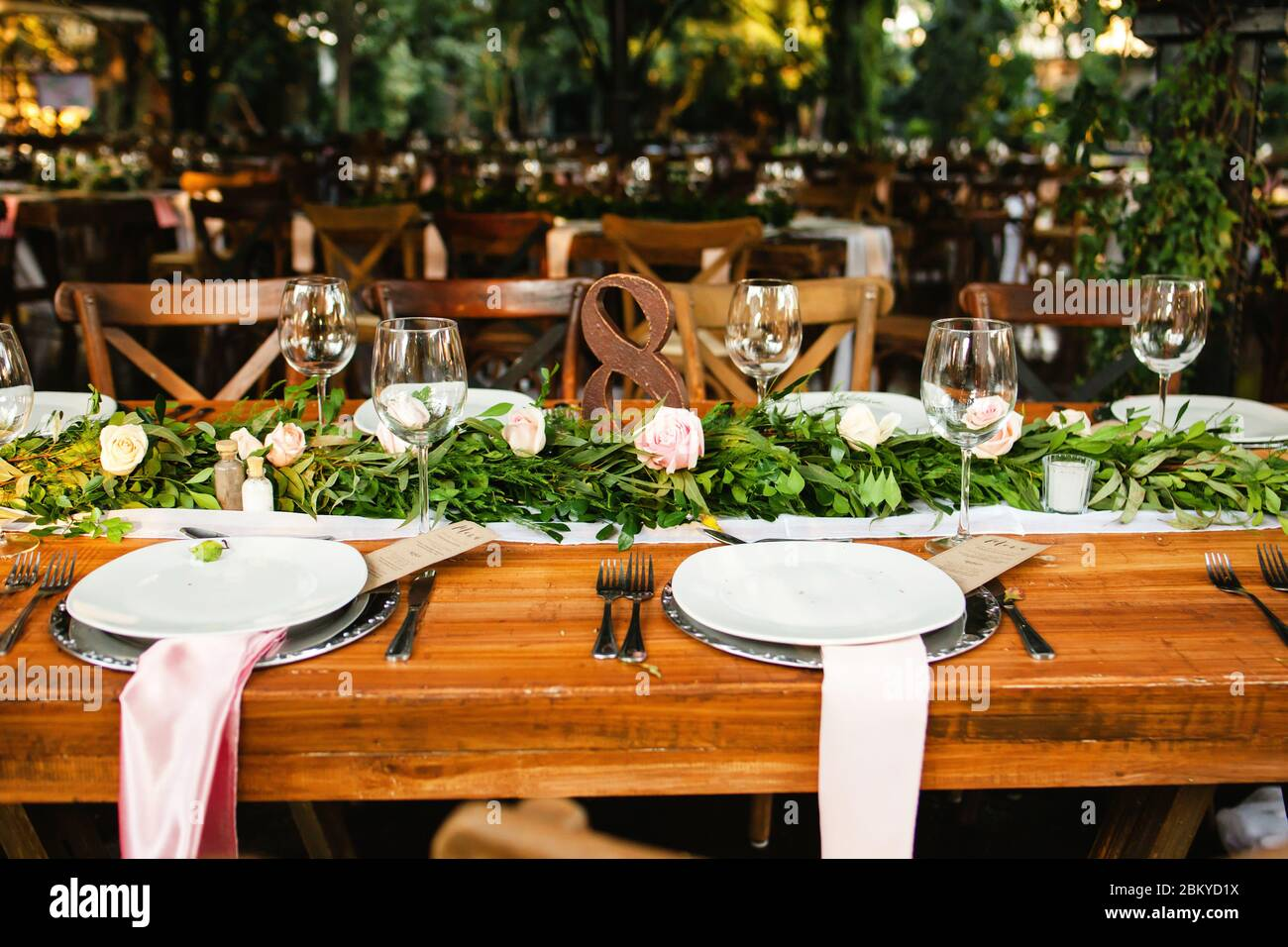 Table Setup Wedding Guest Table Reception Layout Vintage And Rustic Stock Photo Alamy
