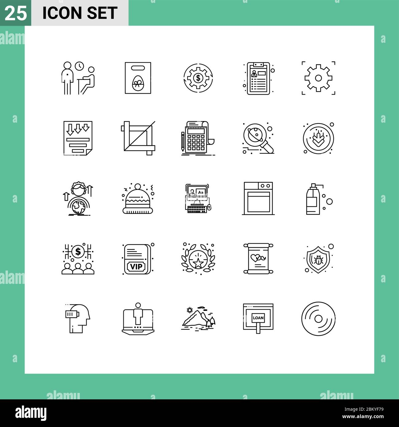 25 Thematic Vector Lines and Editable Symbols of job, profit, easter, money, make Editable Vector Design Elements Stock Vector