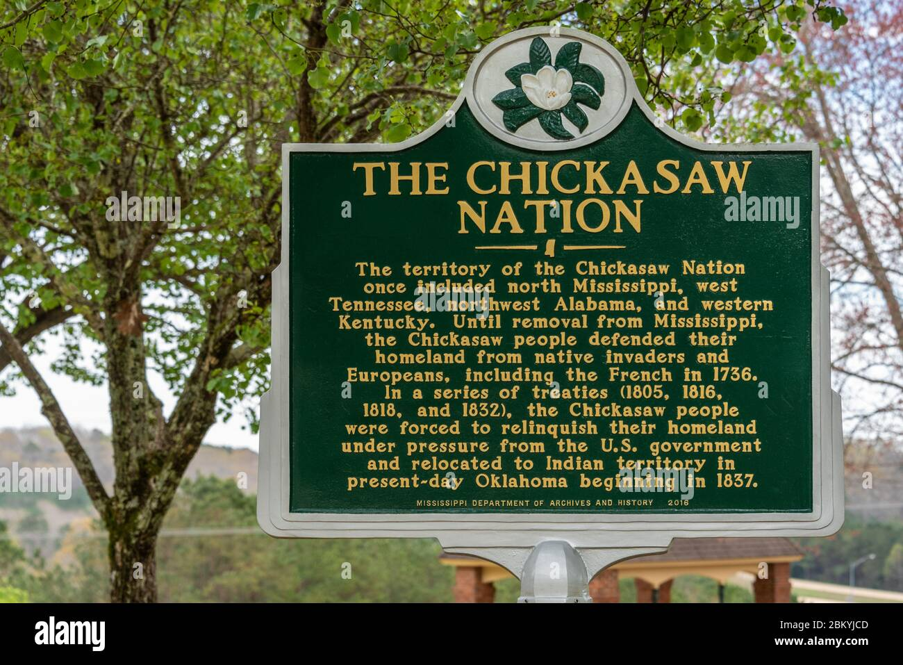 Chickasaw Nation historical marker sign at the Mississippi Welcome Center along I-22 near the Alabama/Mississippi border. (USA) Stock Photo