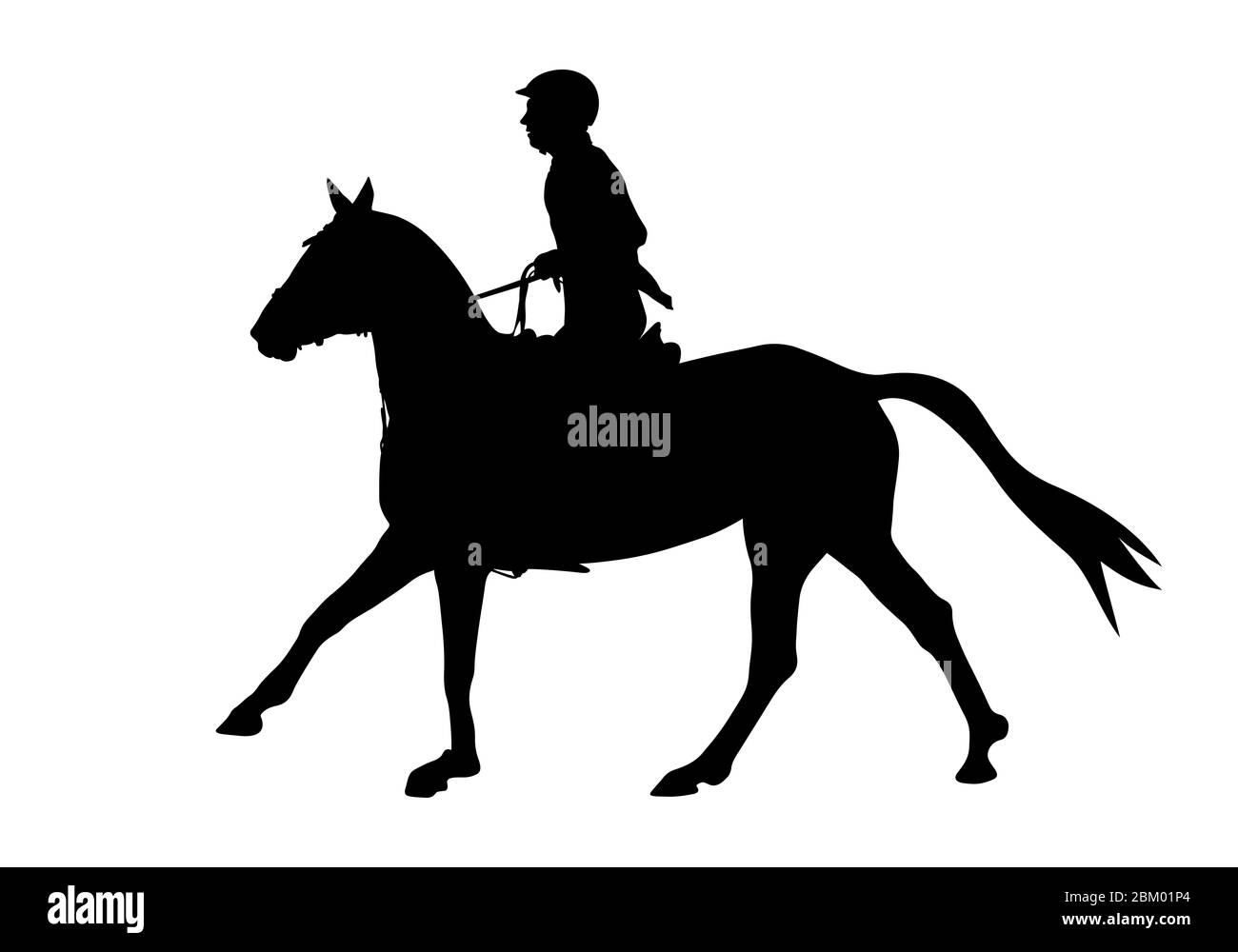 Show Jumping Dressage Woman On Horse Black Silhouette Stock Photo Alamy