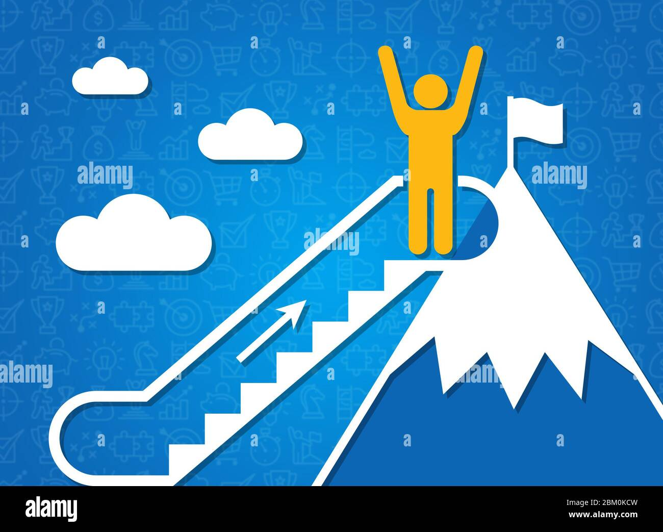 Following dreams and achieving success. Person on mountain top and moving staircase, blue background. Illustration Stock Photo