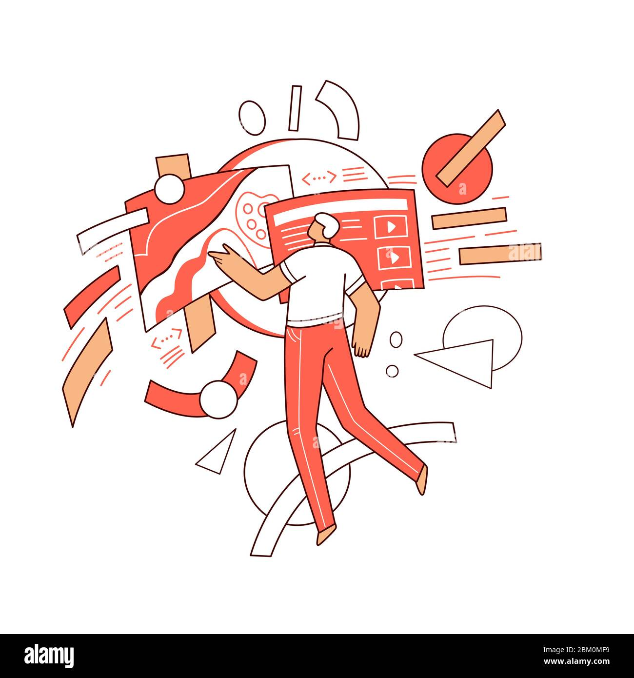 Online education vector flat concept - Man character flying around abstract educational elements, web app, video course in computer, science, art Stock Vector