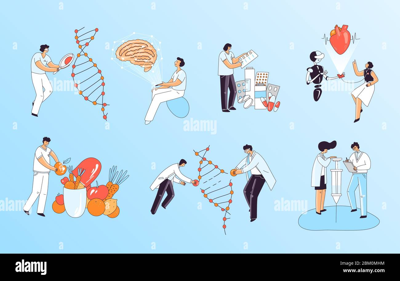 Vector flat medical concept about medic, biochemistry and human health research and inventions of new treatment and medicine. Characters repairing DNA Stock Vector