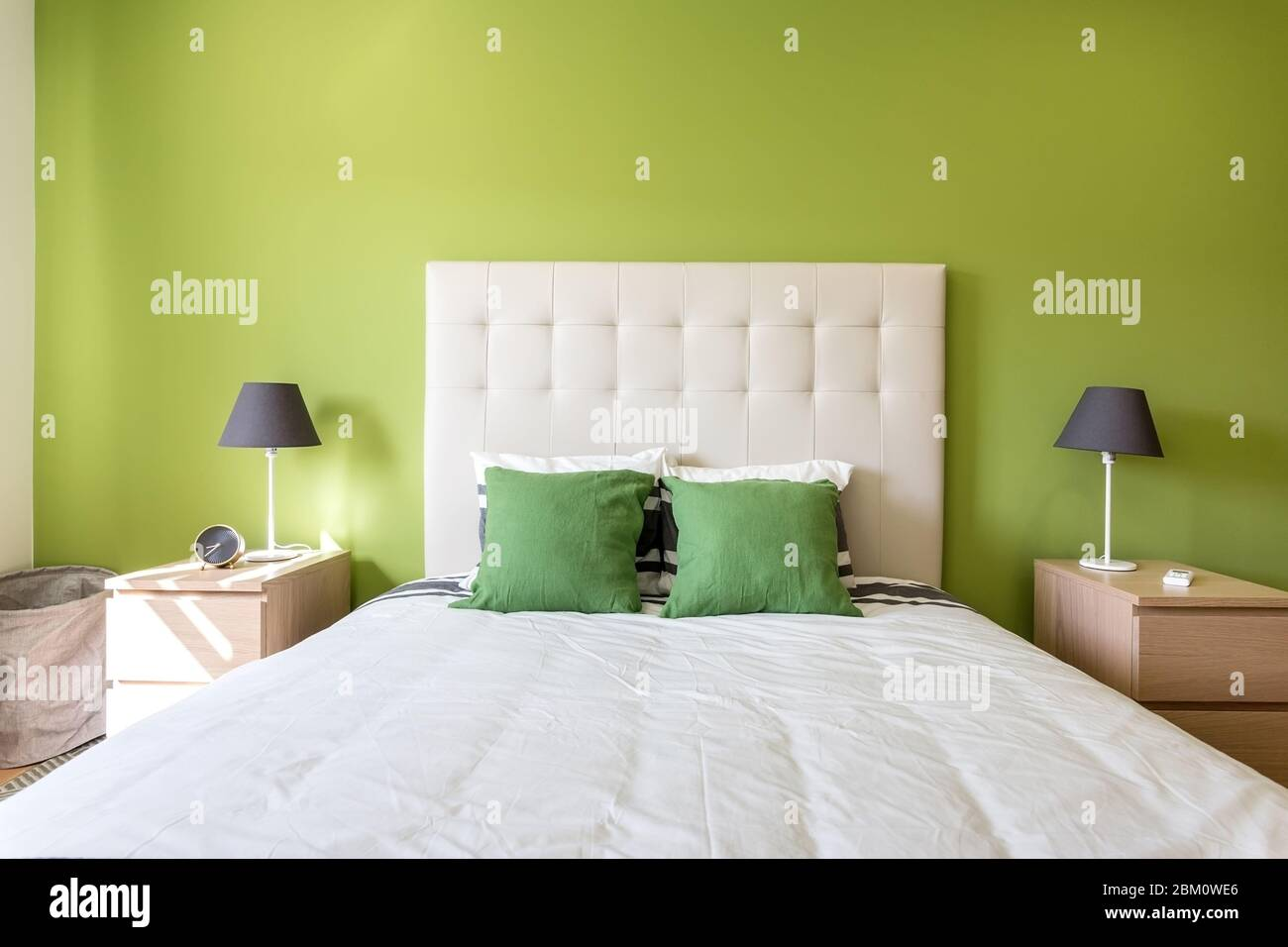 Modern Bedroom In White And Green Colors European Hotel Design And Inside Stock Photo Alamy