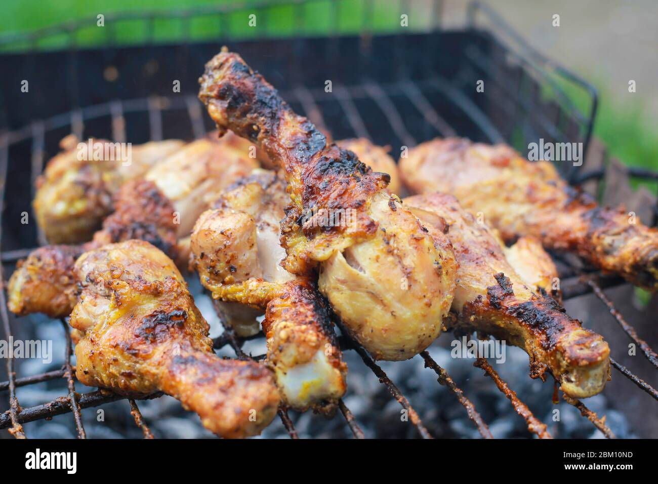 Grilled Chicken Legs Drumstick Charcoal Meat Closeup Stock Photo Alamy