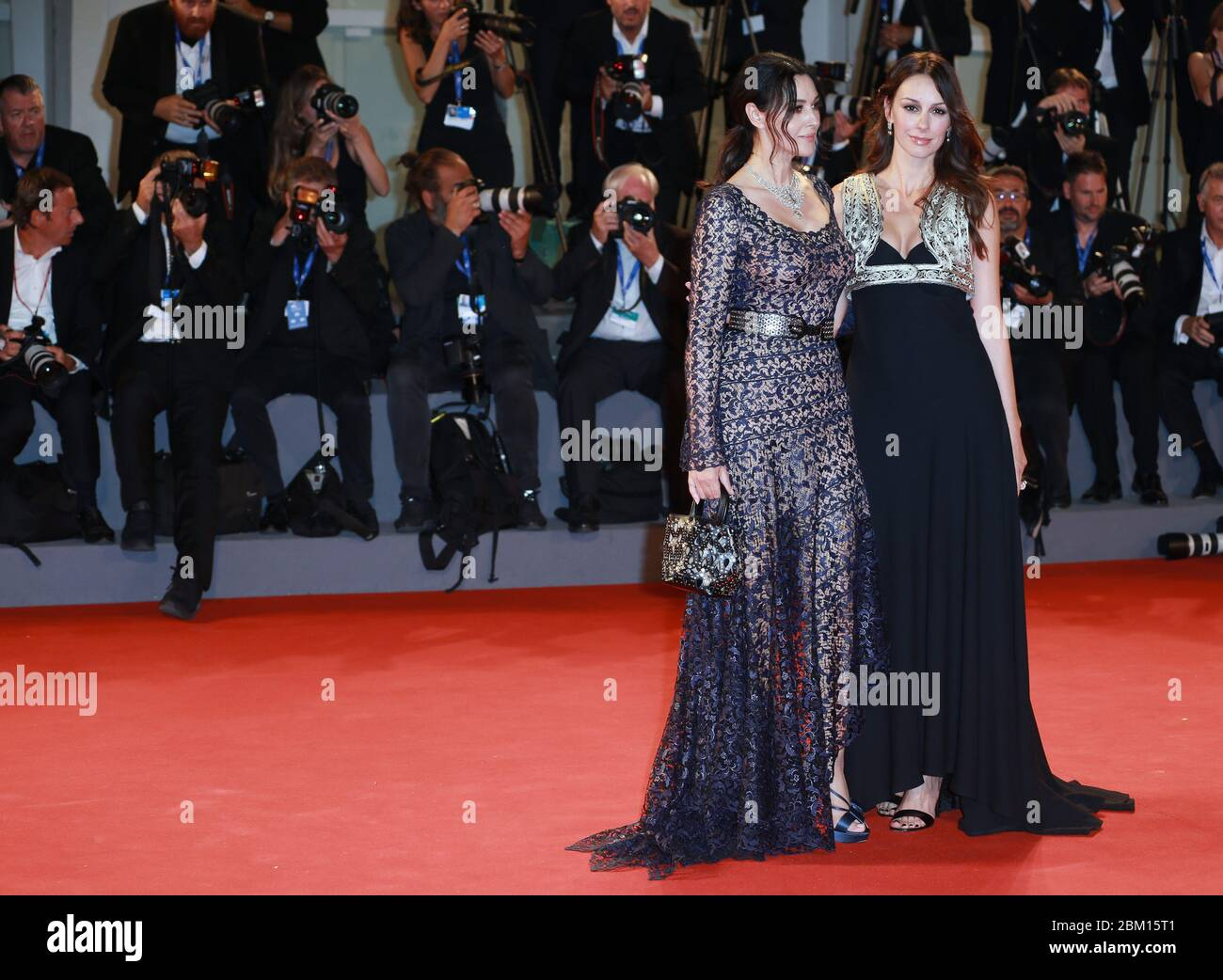 VENICE, ITALY - SEPTEMBER 09: Monica Bellucci and  Sloboda Micalovic attends the premiere of 'On The Milky Road' during the 73rd Venice Film Festival Stock Photo
