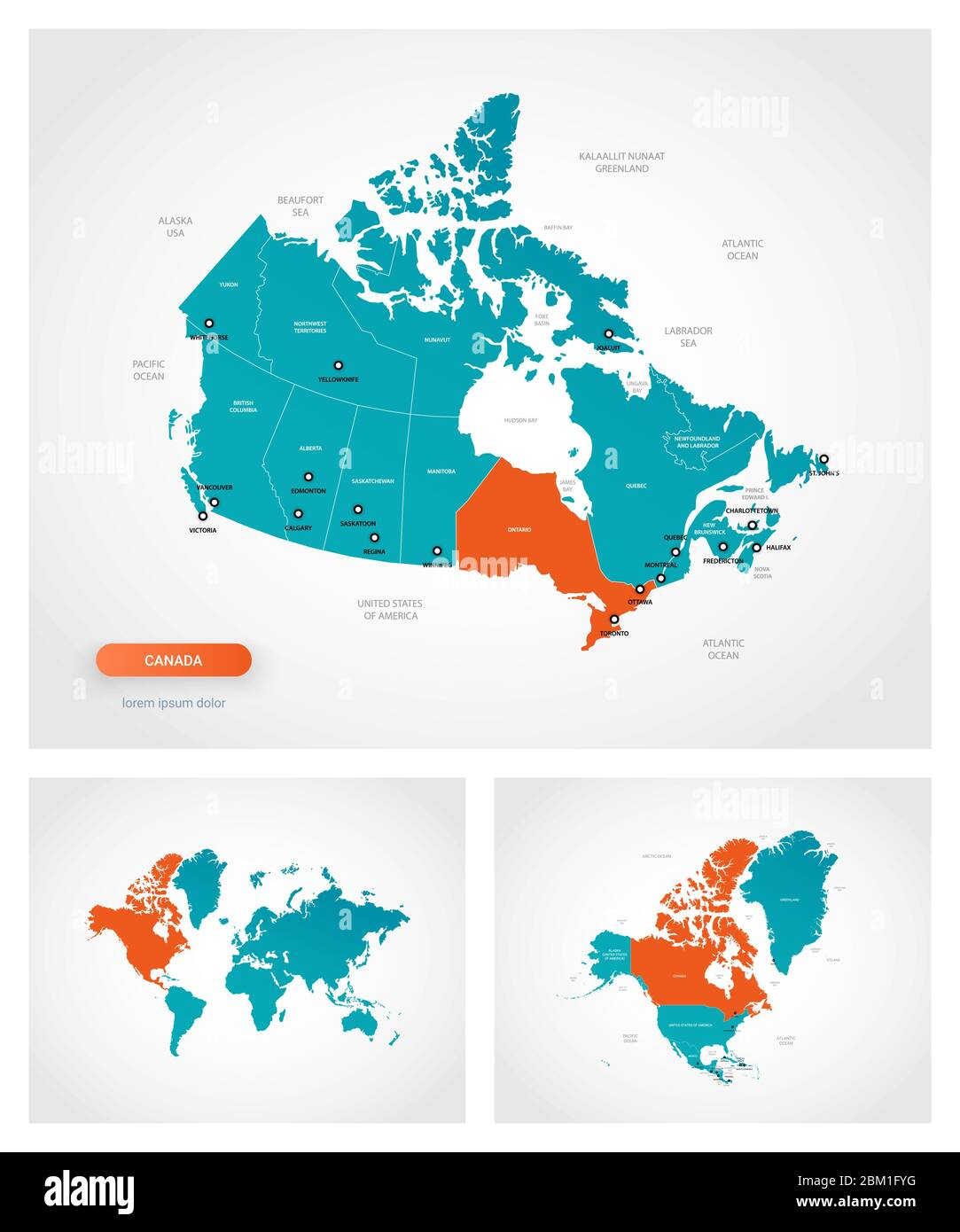 Picture of: Editable Template Of Map Of Canada With Marks Canada On World Map And On North America Map Stock Vector Image Art Alamy