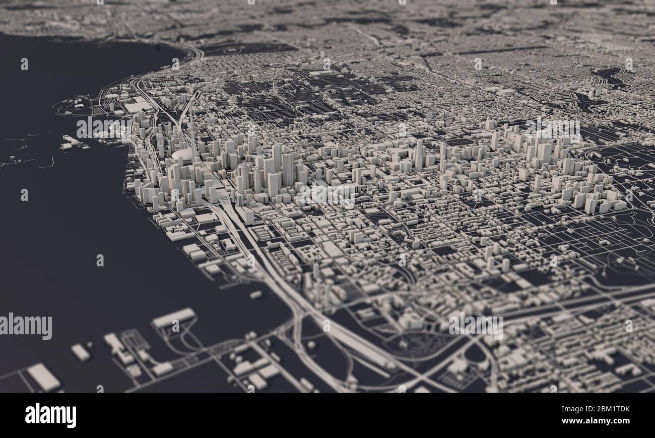 Canada Aerial Map Toronto, Canada city map 3D Rendering. Aerial satellite view Stock