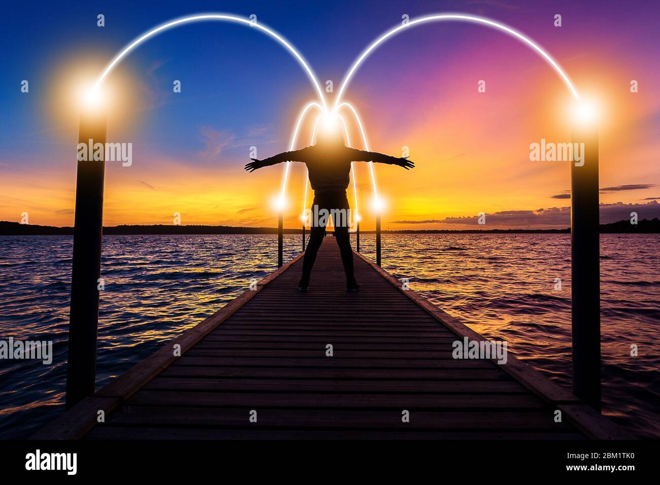 Happy, relax, successful woman thinking on bridge over sea water at sunset time with light of idea connection communication network Stock Photo