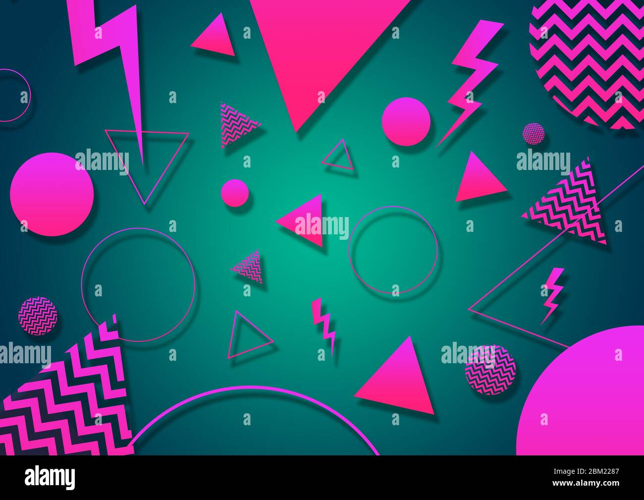 A Green Pink And Coral Retro Vaporwave 90 S Style Random Geometric Shapes With Vibrant Neon Color Palette On A Radial Gradient Background Stock Photo Alamy