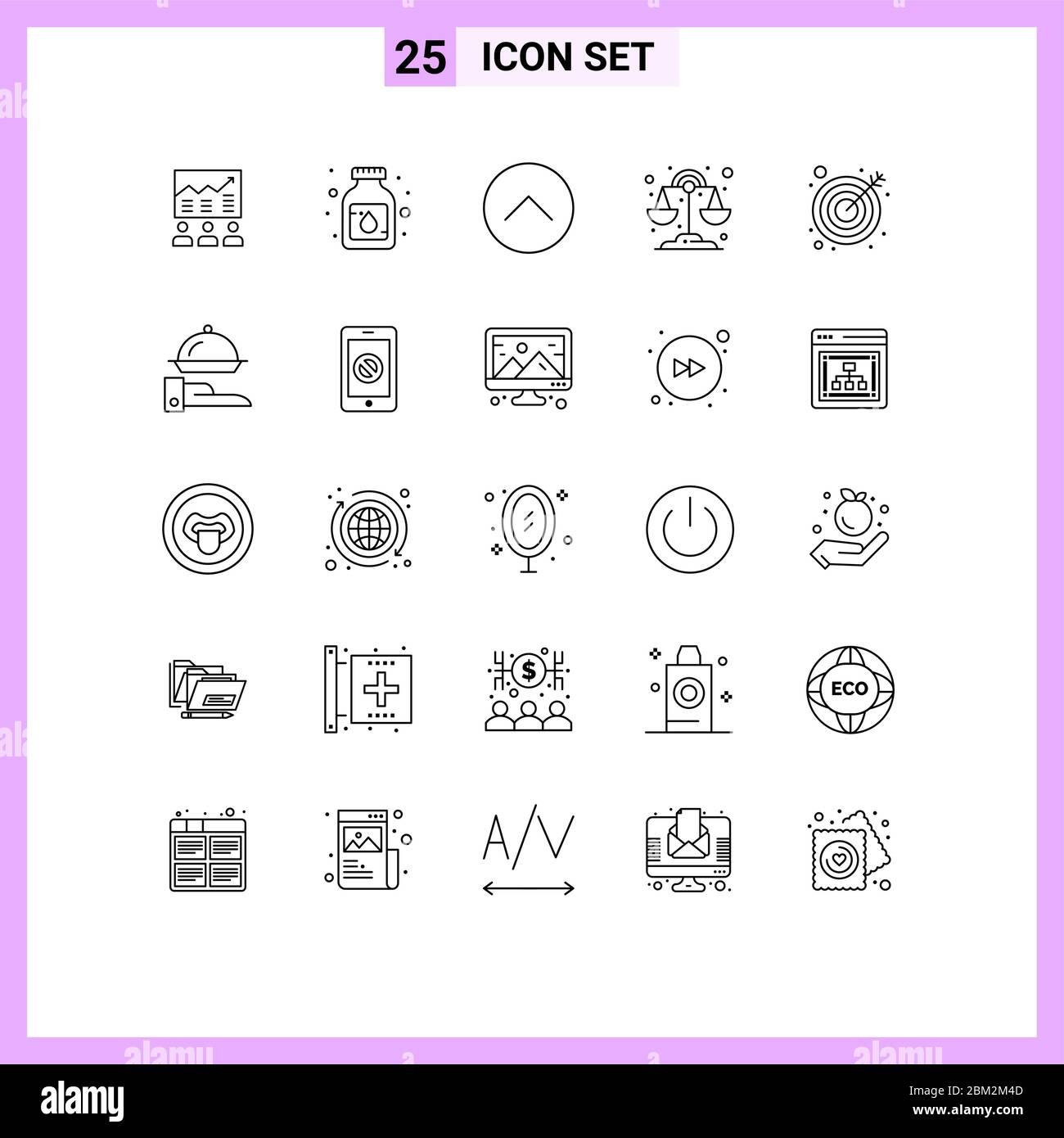 25 Line concept for Websites Mobile and Apps science, chemistry, liquid, multimedia, media Editable Vector Design Elements Stock Vector