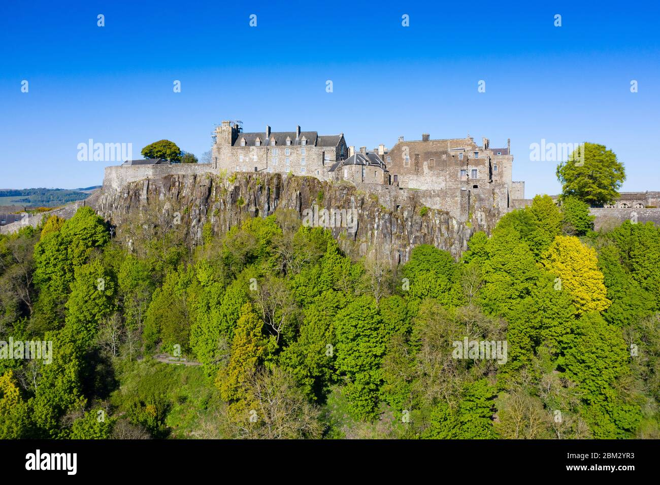 Aerial view of Stirling Castle, closed during Covid-19 lockdown in Stirling, Scotland, UK Stock Photo