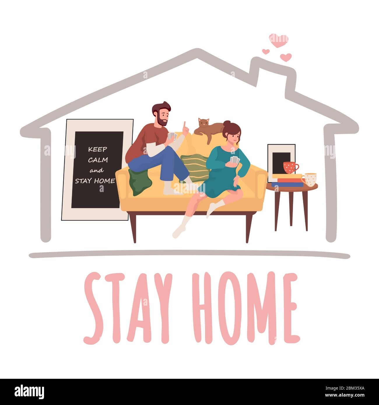 Stay home vector banner design. Man and woman sitting on sofa and play cards vector flat illustration. Quarantine and self isolation during global pandemic of Coronavirus Covid-19 poster concept. Stock Vector