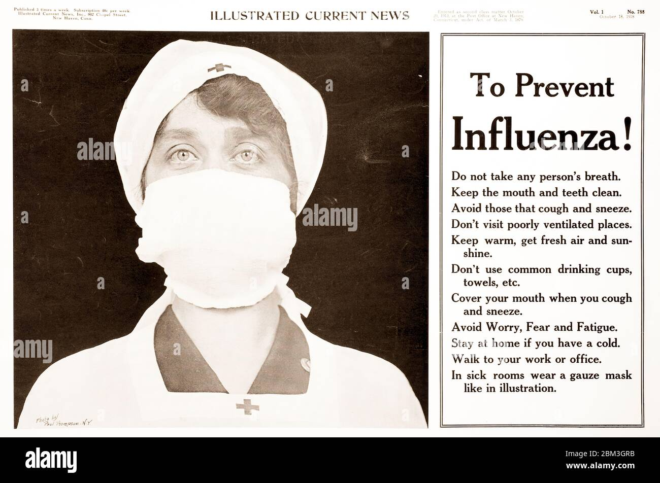 Public service newspaper ad warning the public to mask up to prevent transmission of the Spanish Flu in 1918. Stock Photo
